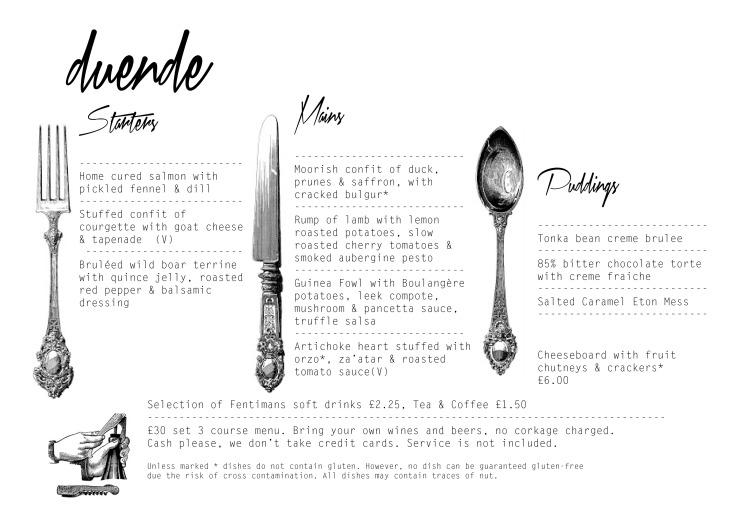 A menu for Ashley green