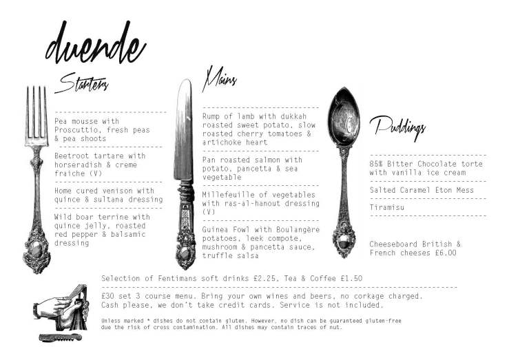October 3 & 4 Temperance Hall Menu
